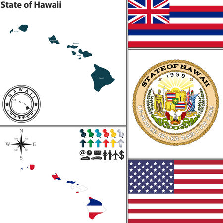 hawaii flag: Vector set of Hawaii state with flag and icons on white background