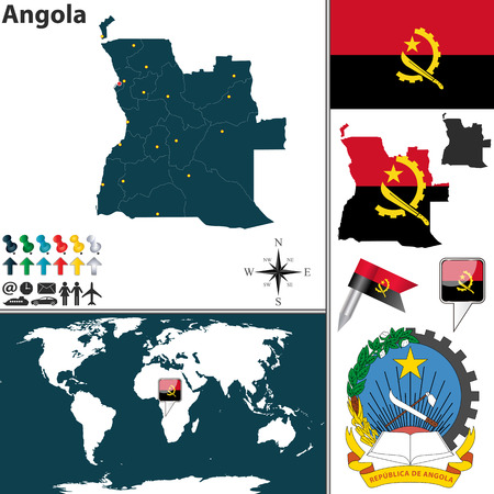 angola: Vector map of Angola with regions, coat of arms and location on world map Illustration
