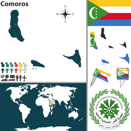 comoros: Vector map of Comoros with coat of arms and location on world map