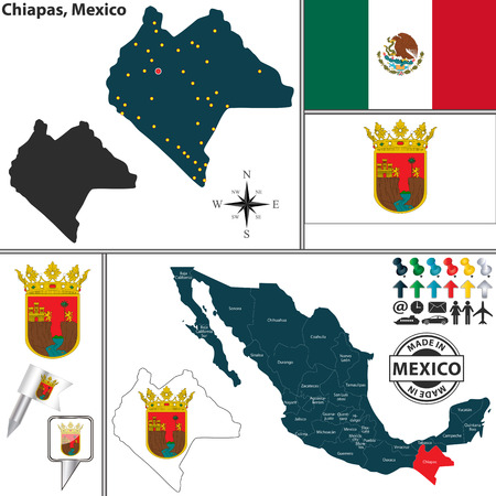 Vector map of state Chiapas with coat of arms and location on Mexico map Illustration