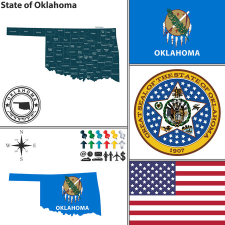 Vector set of Oklahoma state with seal, flag and icons on white background Illustration