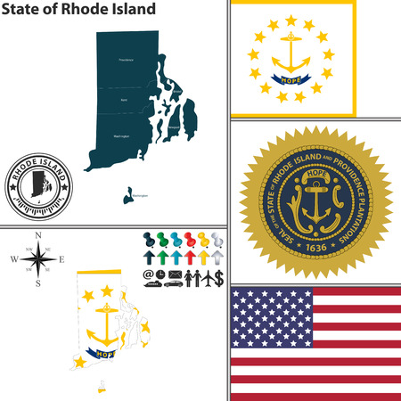 ri: Vector set of Rhode Island state with seal, flag and icons on white background Illustration
