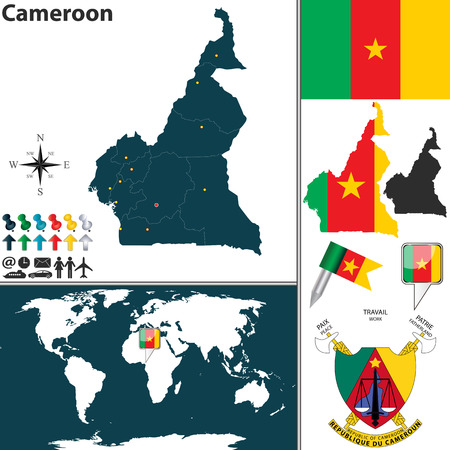Vector Map Of Cameroon With Regions, Coat Of Arms And Location ...