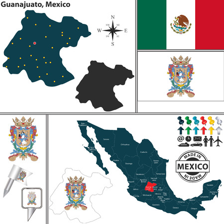 Vector map of state Guanajuato with coat of arms and location on Mexico map 向量圖像