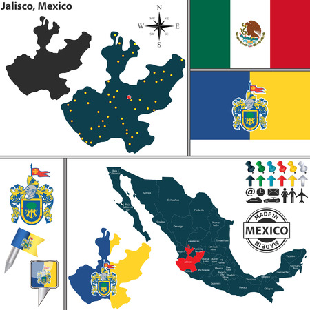 Vector map of state Jalisco with coat of arms and location on Mexico map