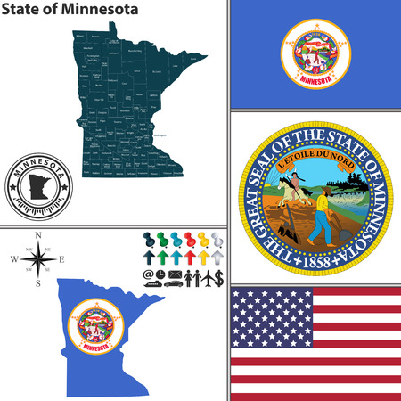 Vector set of Minnesota state with flag and icons on white background