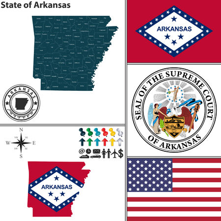 ar: Vector set of Arkansas state with flag and icons on white background
