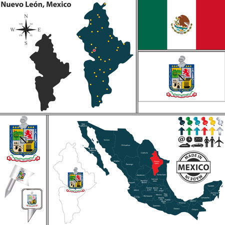monterrey: Vector map of state Nuevo Leon with coat of arms and location on Mexico map