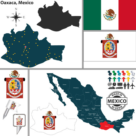 oaxaca: Vector map of state Oaxaca with coat of arms and location on Mexico map Illustration