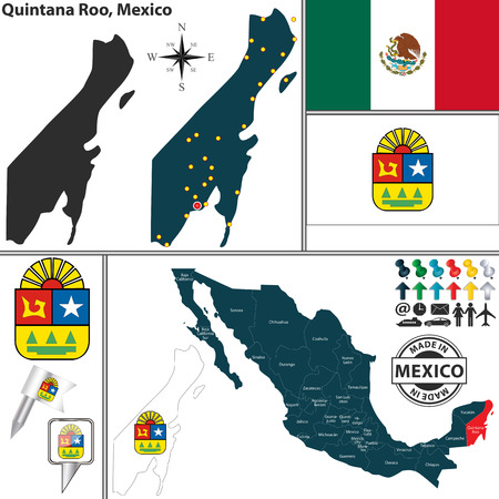 cancun: Vector map of state Quintana Roo with coat of arms and location on Mexico map
