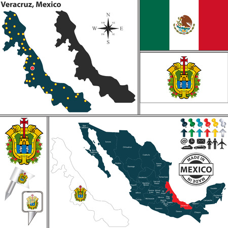 Vector map of state Veracruz with coat of arms and location on Mexico map