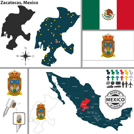 Vector map of state Zacatecas with coat of arms and location on Mexico map