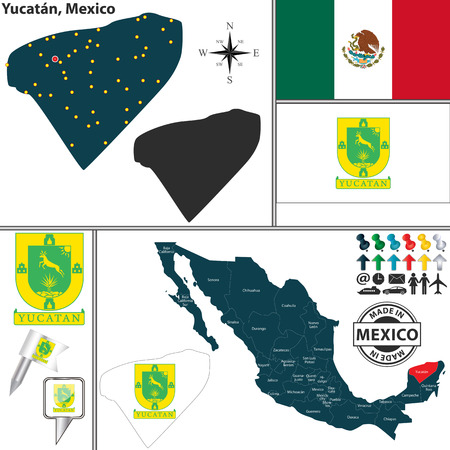Vector map of state Yucatan with coat of arms and location on Mexico map Illusztráció
