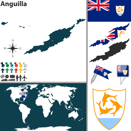 anguilla: Vector map of Anguilla with coat of arms and location on world map Illustration