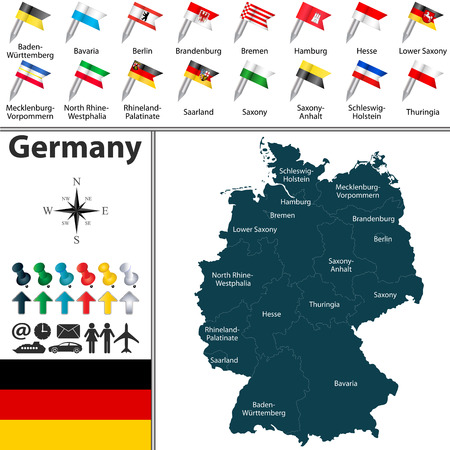Vector map of Germany with regions and flags Illustration