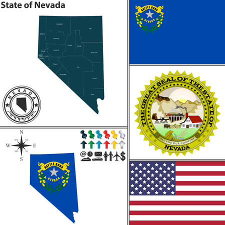 carson city: Vector set of Nevada state with flag and icons on white background Illustration