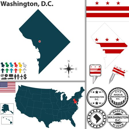 Vector set of Washington, D.C. with flag and icons on white background