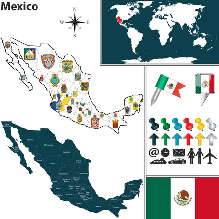 roo: Vector map of Mexico with regions with flags and location on world map.