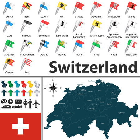 Vector map of Switzerland with regions with flags and location on world map. Vector