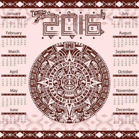 calendar: Vector calendar 2016 in aztec style