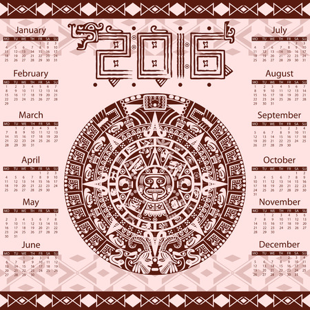 maya: Vector calendar 2016 in aztec style