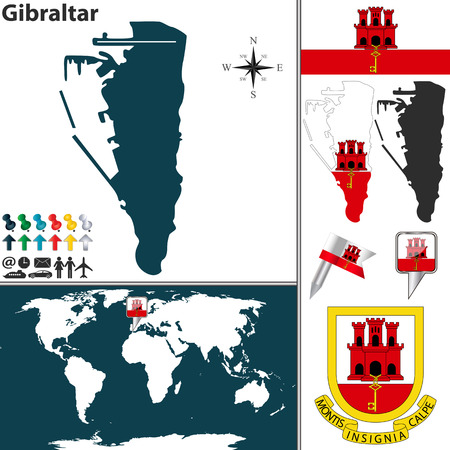 gibraltar: Vector map of Gibraltar with coat of arms and location on world map