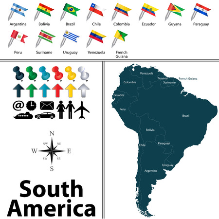 latin american: Vector of political map of South America set with buttons flags on white background