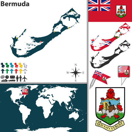 hamilton: Vector map of Bermuda with coat of arms and location on world map