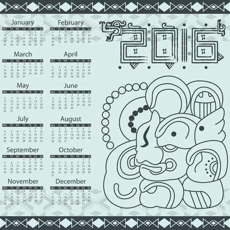 toltec: Vector calendar 2016 in aztec style