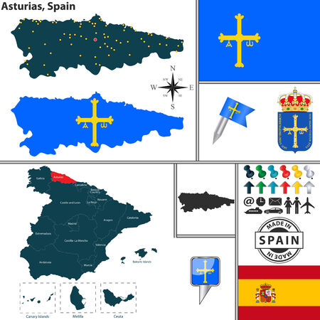 Vector map of region of Asturias with coat of arms and location on Spanish map