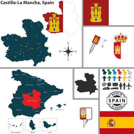 castilla: Vector map of region of Castilla-La Mancha with coat of arms and location on Spanish map