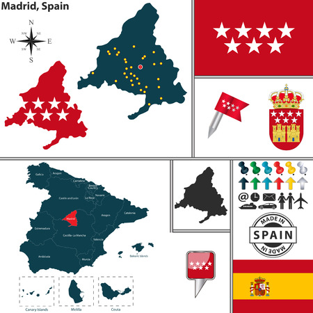 region: Vector map of region of Madrid with coat of arms and location on Spanish map