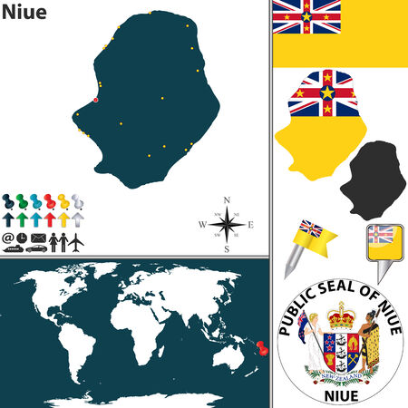 niue: Vector of Niue set with detailed country shape with flags and icons Illustration