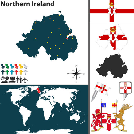 Vector map of Northern Ireland with coat of arms and location on world map Vector