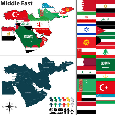 middle: Vector of political map of Middle East set with flags on white background Illustration
