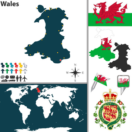 wales: Vector map of Wales with coat of arms and location on world map