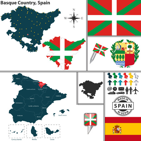 vitoria: Vector map of region of Basque Country with coat of arms and location on Spanish map