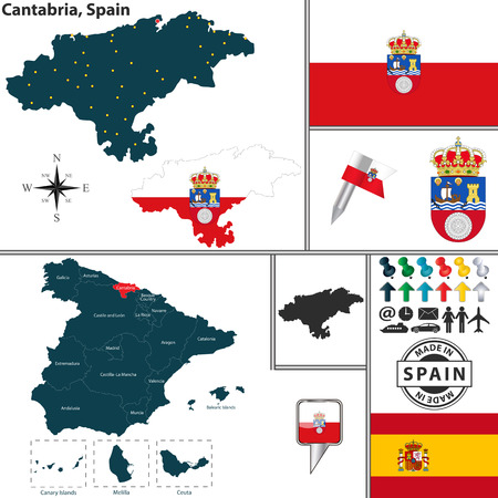 Vector map of region of Cantabria with coat of arms and location on Spanish map Illustration