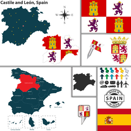 leon: Vector map of region of Castile and Leon with coat of arms and location on Spanish map