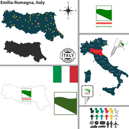 emilia romagna: Vector map of region Emilia-Romagna with coat of arms and location on Italy map Illustration