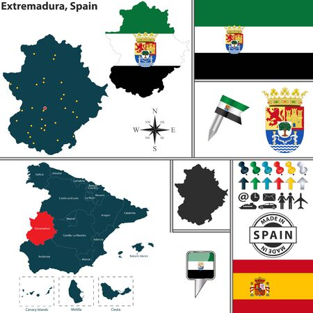 merida: Vector map of region of Extremadura with coat of arms and location on Spanish map