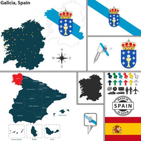 Vecteur carte de la région de la Galice avec des armoiries et l'emplacement sur la carte espagnole