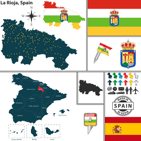 la rioja: Vector map of region of La Rioja with coat of arms and location on Spanish map Illustration