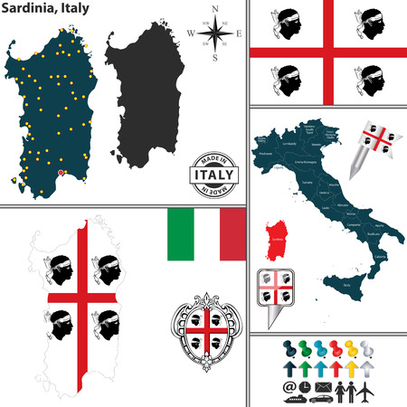 Vector map of region Sardinia with coat of arms and location on Italy map Vector
