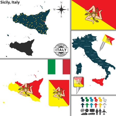 sicilian: Vector map of region Sicily with coat of arms and location on Italy map