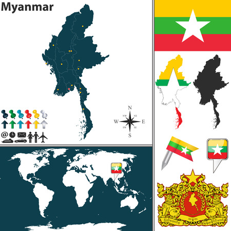 burmese: Vector map of Myanmar with regions, coat of arms and location on world map Illustration