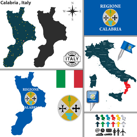 calabria: Vector map of region Calabria with coat of arms and location on Italy map