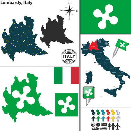 lombardy: Vector map of region Lombardy with coat of arms and location on Italy map