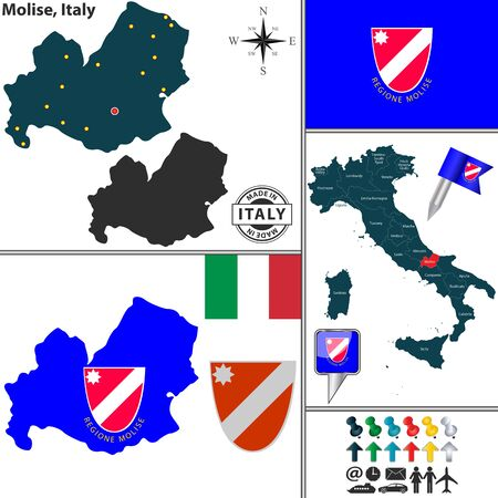 molise: Vector map of region Molise with coat of arms and location on Italy map Illustration