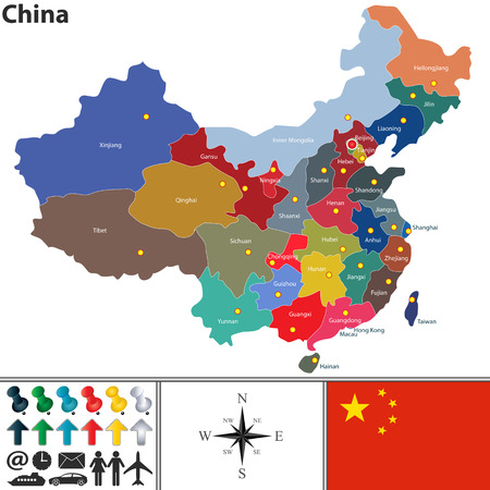 Vector map of China with regions in different colors Illustration